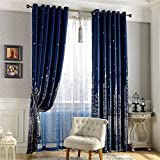 Cheap MEILIANJIA Navy Blue Castle Printing Multi Size Optional Thermal Insulated Blackout Energy Saving Custom Curtains 100″ W x 102″ L(One Panel),Navy Blue