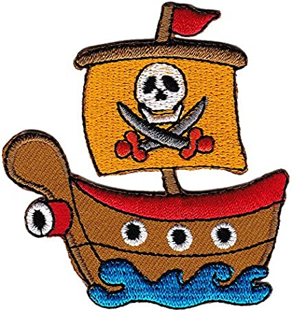 Cute Pirate Ship Kids Toy Embroidered Iron Sew on Patch J1839