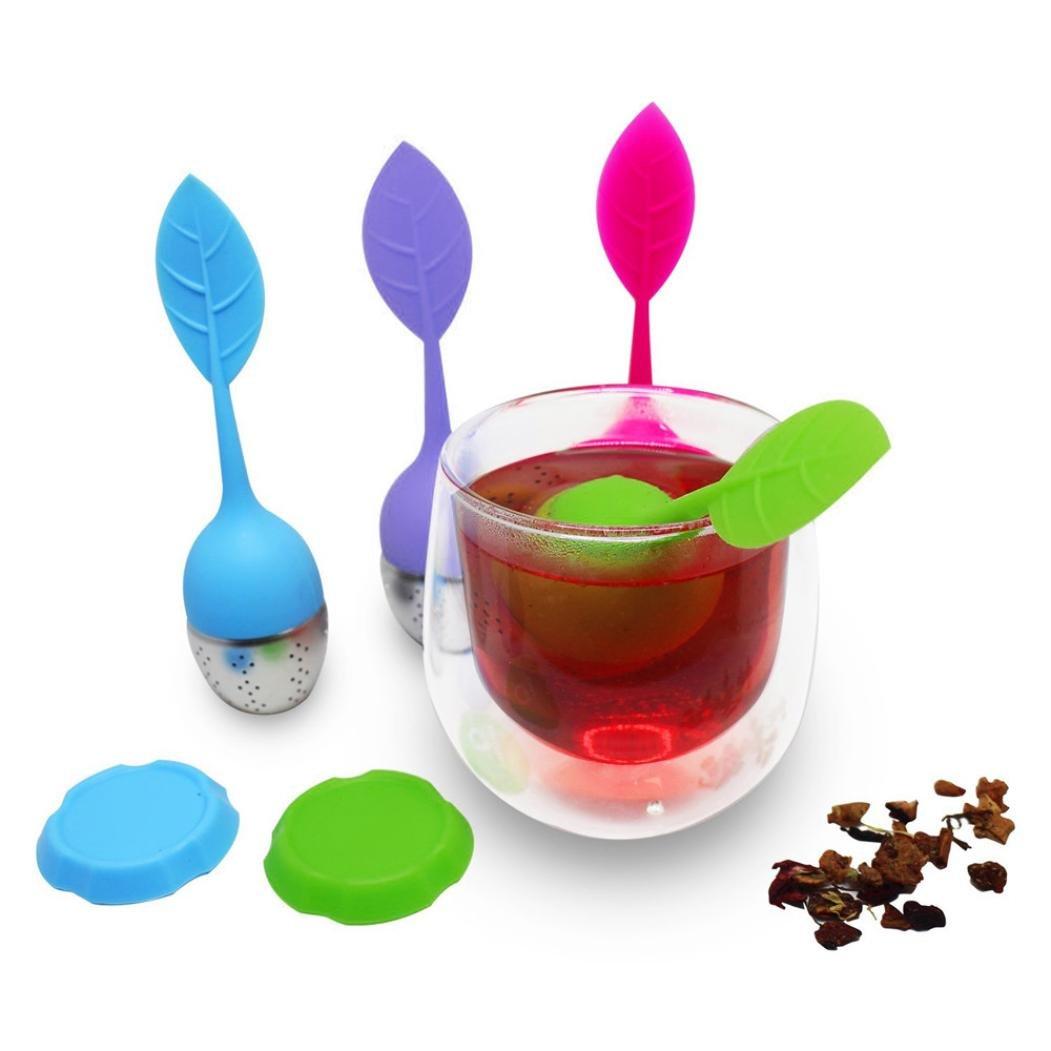 Tea Maker Baomabao 4pc Portable Silicone Leaf Shape Tea Strainer Teaspoon Infuser Coffee Tea Maker