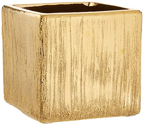 Ceramic Etched Vases - WGV Ceramic Etched Cube Square Vase, 5