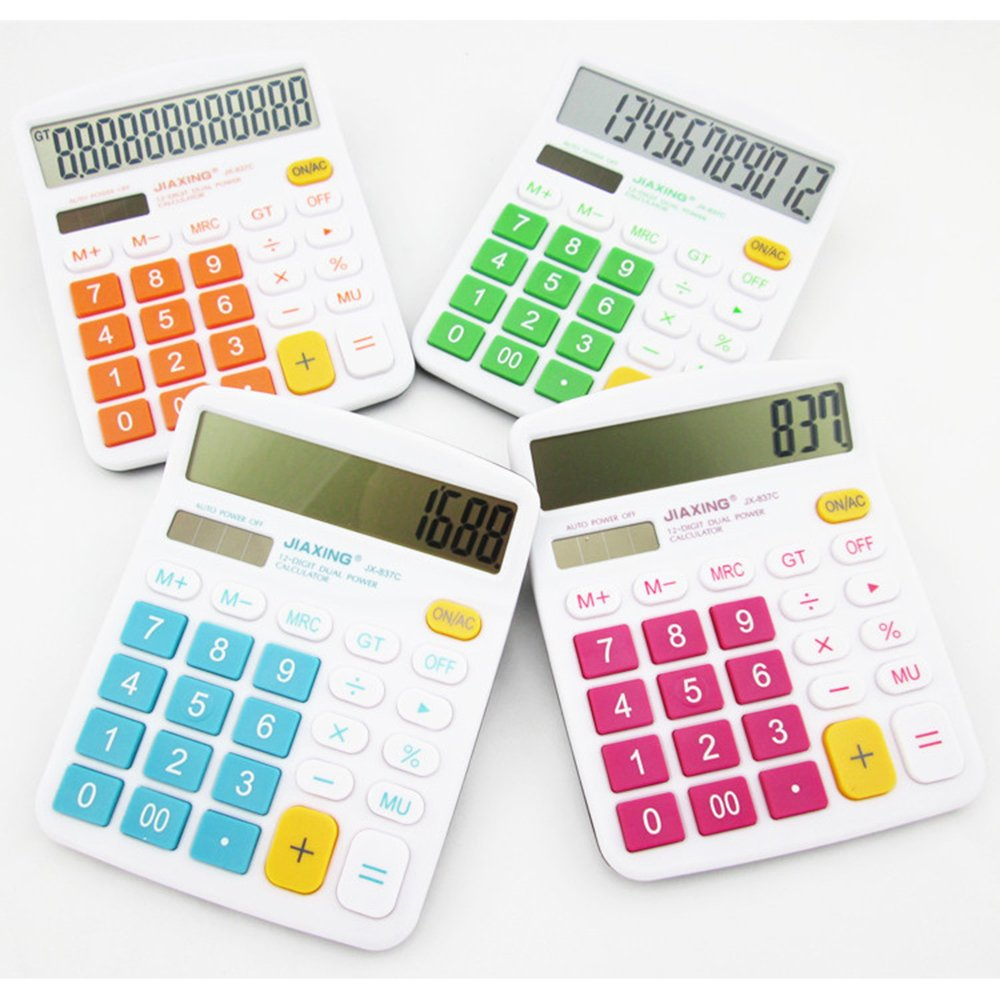 GardenHelper 12 Digits Colorful Large Button LCD Display Desktop Calculator for Office Home School, Solar & Battery Dual Powered Standard Electronic Calculator (Orange) by GardenHelper (Image #2)