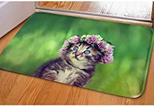 """Cat Doormat Cute Flower Cat Anime Printing Non Slip Soft Pretty Entrance Outdoor Indoor Rug for Home Apartment House Decor Kawaii Animal Entry Floor Mat for Kid Living Room, Size 15.7""""x 23.2"""""""