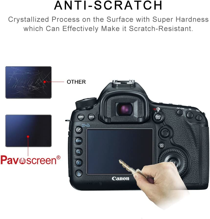 Camera Screen Protector for Canon 5DIII Pavoscreen Anti-Scratch Tempered Glass Fingerprint Proof Easy Apply Protective Film for Canon 5DS 5DSR