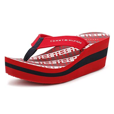 cfd2a937d1fd Tommy Hilfiger Womens Tango Red Wedge Flip Flop-UK 6.5  Amazon.co.uk ...