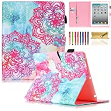iPad Air 2 Case, iPad 6 Case, Dteck(TM) Pretty Cute Cartoon Flip Smart Kickstand Case with {Auto Sleep Wake} Premium Synthetic Leather Magnetic Wallet Cover for Apple iPad Air 2-Damask Flower