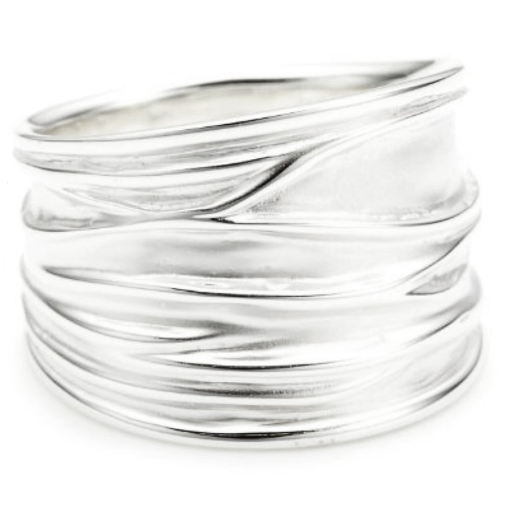 Vinani Ring breit Struktur sandgestrahlt gl/änzend Sterling Silber 925