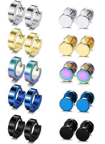 Amazoncom Besteel 10 Pairs Hoop Earrings Gauge Earrings For Men