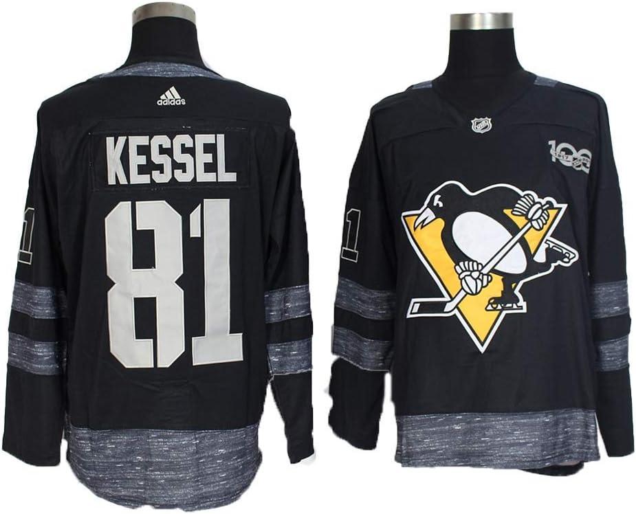 Yajun Phil Kessel#81 Pittsburgh Penguins Camisetas Hockey Jersey sobre Hielo NHL Hombre Ropa Respirable T-Shirt de Manga Larga