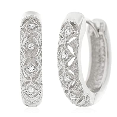 cc035cf98 .925 Sterling Silver Womens Fancy Cubic Zirconia CZ Pattern Micro Pave Small  Round Huggie Hoop