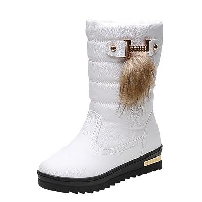 Chaussures d'hiver pour femmes chaudes femmes bottes d'hiver mi-mollet bottes de neige blanc IpM3J0v2