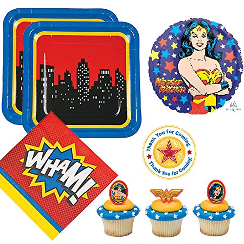 Wonder Woman theme Party Supplies for 12 guests - large plates, napkins, cupcake rings, balloon, labels