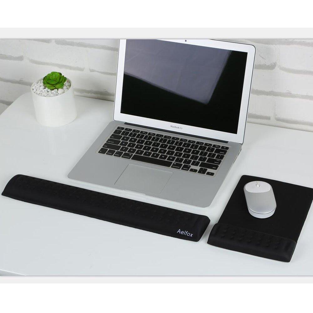 Desktop Computer Gaming Keyboard Home Office Ergonomic Design for Office Laptop Aelfox Memory Foam Keyboard Wrist Rest/&Mouse Pad Wrist Support