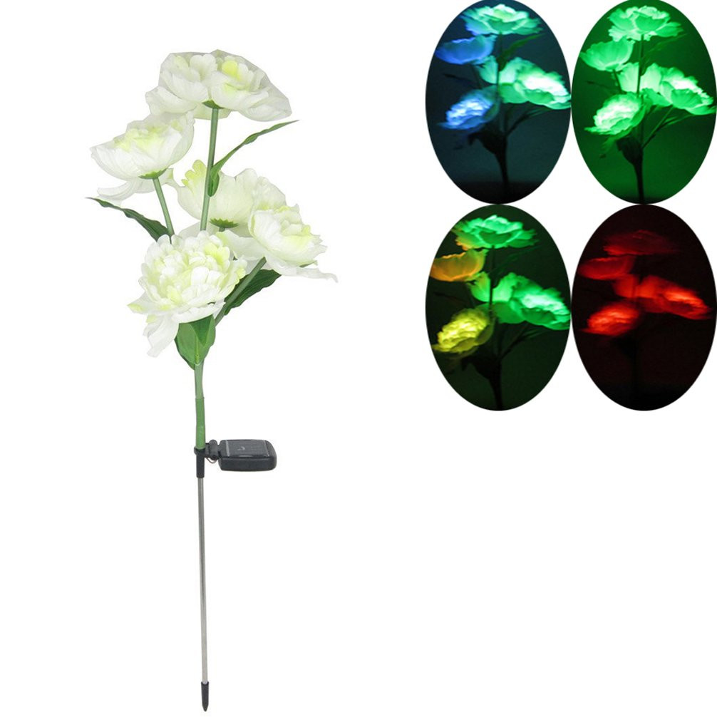 De-Spark Color Changing Solar Garden Light - 5 LED Waterproof Peony Flowers Stake Lights for Outdoor Patio Backyard Home Decor by Dreamseden
