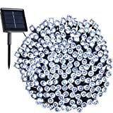 RockBirds SL200-W 200 LED Outdoor String Light Solar Powered 1800mAH Waterproof Starry Fairy Lighting Christmas Light Neon Signs (White)