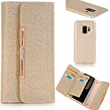 "Samsung S9 5.8"" Leahter Case Wallet Cover,MEILIIO Glitter Powder Bling PU Leather Flip Zipper Wallet Cover Cards Slots Lady Multi Envelope Wristlet HandBag for Samsung Galaxy S9 5.8 inch (Gold)"