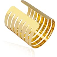 MXYZB Stainless Steel Hollow Hoop Wide Cuff Bangle Bracelet Gold Adjustable