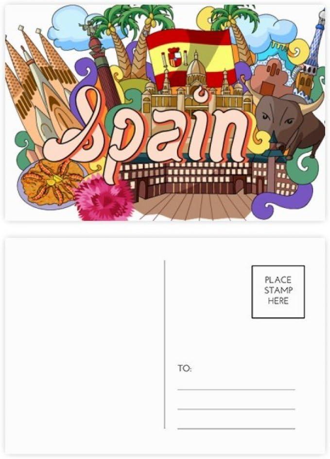 DIYthinker Prado Mariscos España Graffiti tarjetas postales conjunto de la tarjeta de cumpleaños de correo Gracias lateral 20Pcs 5,7 pulgadas x 3,8 pulgadas Multicolor: Amazon.es: Oficina y papelería