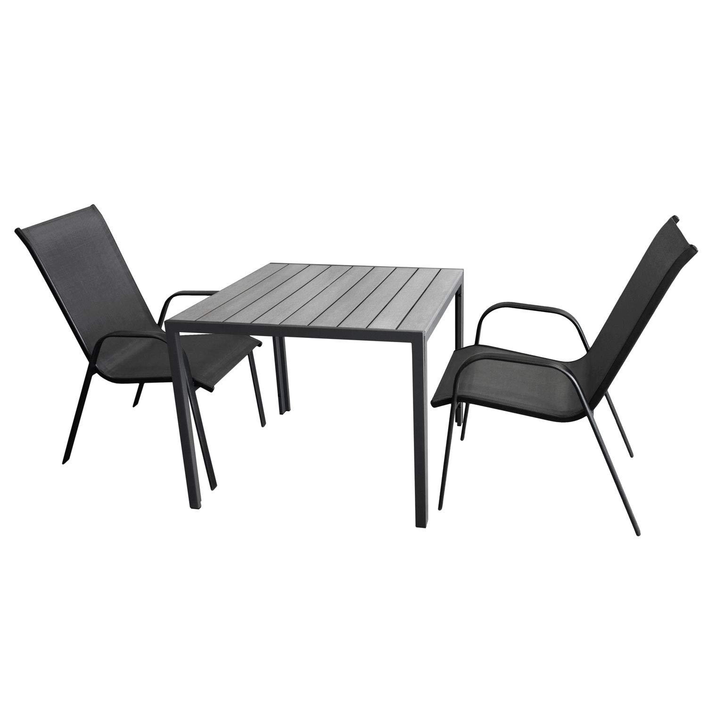 Multistore 2002 3tlg. Gartengarnitur, Gartentisch, Aluminiumrahmen, Tischplatte Polywood, 90x90cm + 2X Stapelstuhl, Metallgestell Schwarz, Textilenbespannung Grau
