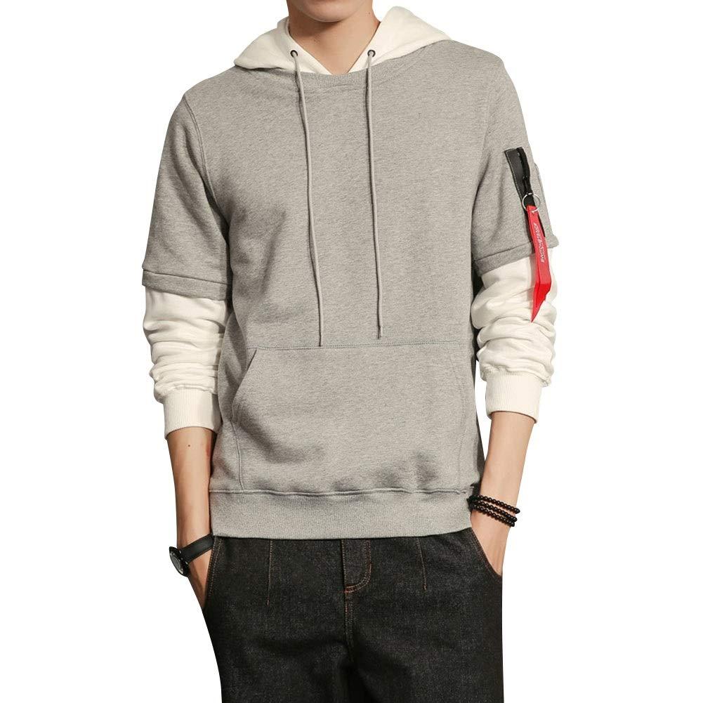 LETSQK Mens Fashion Regular Fit Long Sleeve Casual Hooded Fleece Sweatshirt
