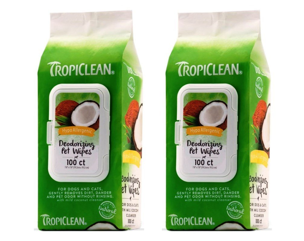 TropiClean Hypo-Allergenic Deoderizing Pet Wipes, 100 Count - Pack of 2 by Tropiclean