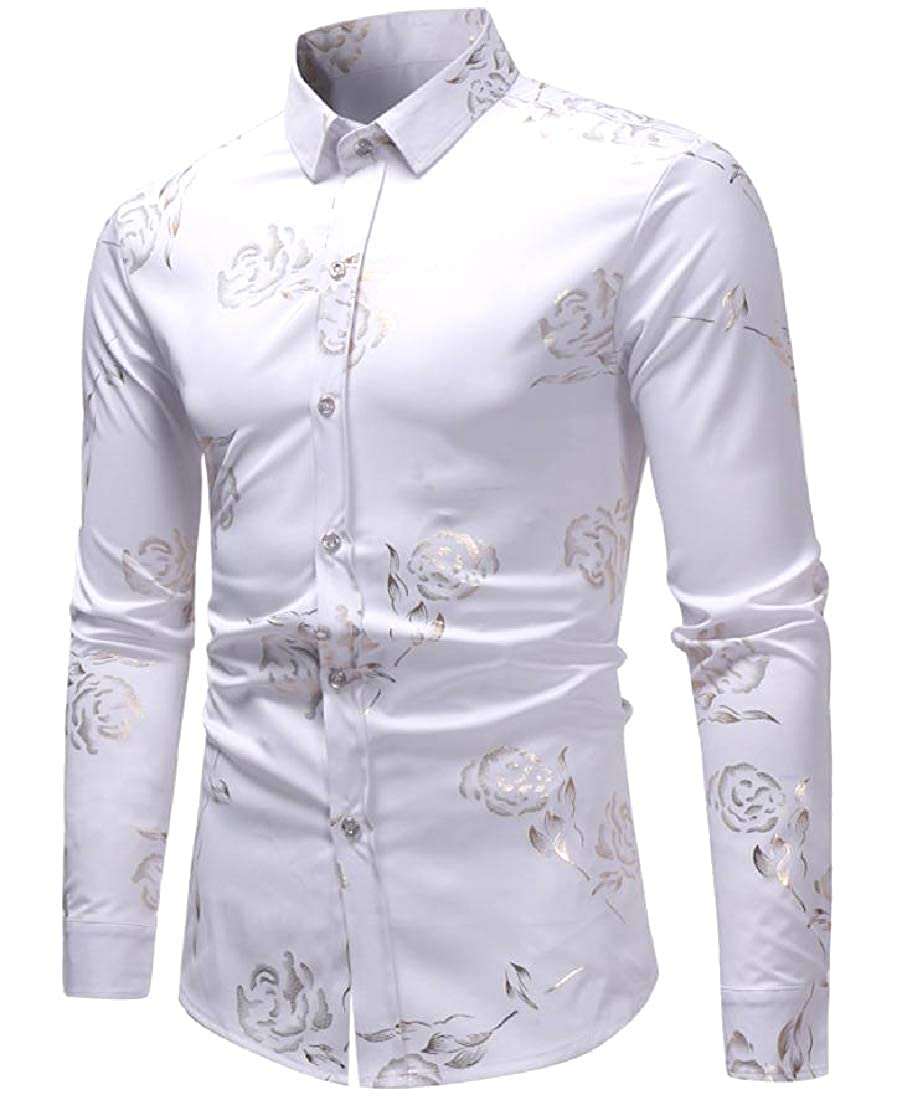 Abetteric Mens Large Size Floral Printed Point Collar Dress Shirt