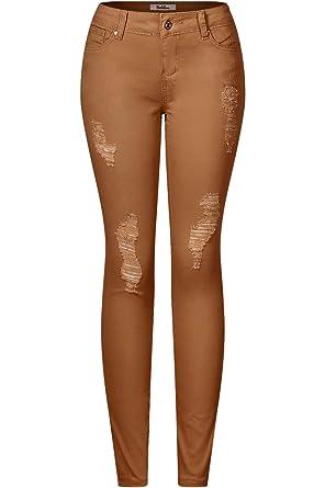 60dc61eb2685 2LUV Women's Stretchy 5 Pocket Destroyed Dark Denim Skinny Jeansat ...