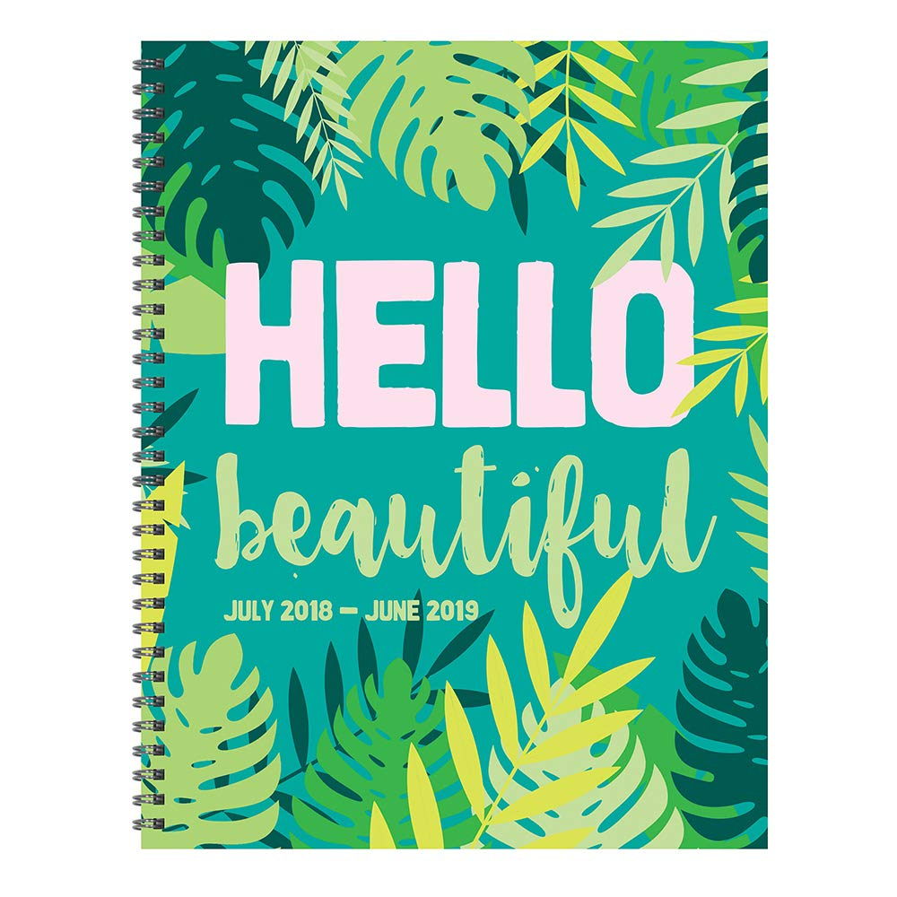 tf publishing 19 9605a july 2018 june 2019 hello large weekly monthly planner 9 x 11 green blue