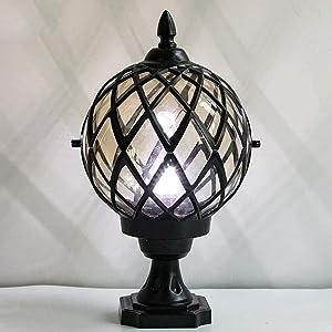 DULG Traditional Victorian Globe Column Light Classic Aluminium Glass Outdoor Waterproof Table Lantern E27 Pillar Post Lamps Creative Ball Courtyard Patio Porch Gate Bollard Landscape Street Lighting