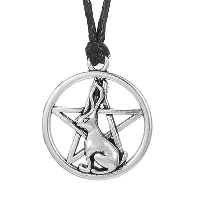 Hare pendant rabbit necklace pentacle handmade wax line necklace hare pendantrabbit necklacepentacle handmade wax line necklace aloadofball Gallery