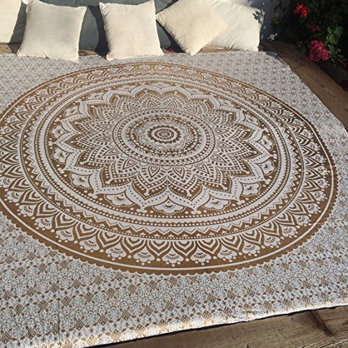 Indian-hippie Tie-dye Ombre-mandala Wall-art-tapestry-golden-Queen-size-large-84x90