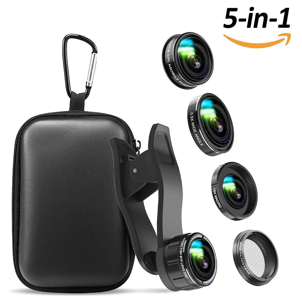 iPhone Camera Lens , 5 in 1 Cell Phone Camera Lens 0.5x Wide Angle Lens+15x Macro Lenses +230° Fisheye Lens +CPL +Star Lens for iPhone x 8 7 6 6s plus Samsung Huawei Android Smartphone by EWEIMA