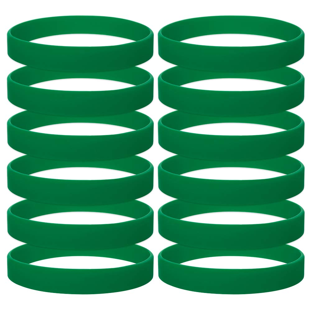 GOGO 12 PCS Silicone Wristbands for Kids, Rubber Bracelets, Party Favors-ForestGreen