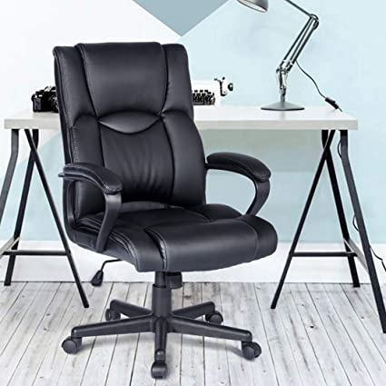 Aingoo Leather Executive Office Chair Mid Back Ergonomic Upholstered  Executive Computer Desk Chair Armrest Tilt Lock