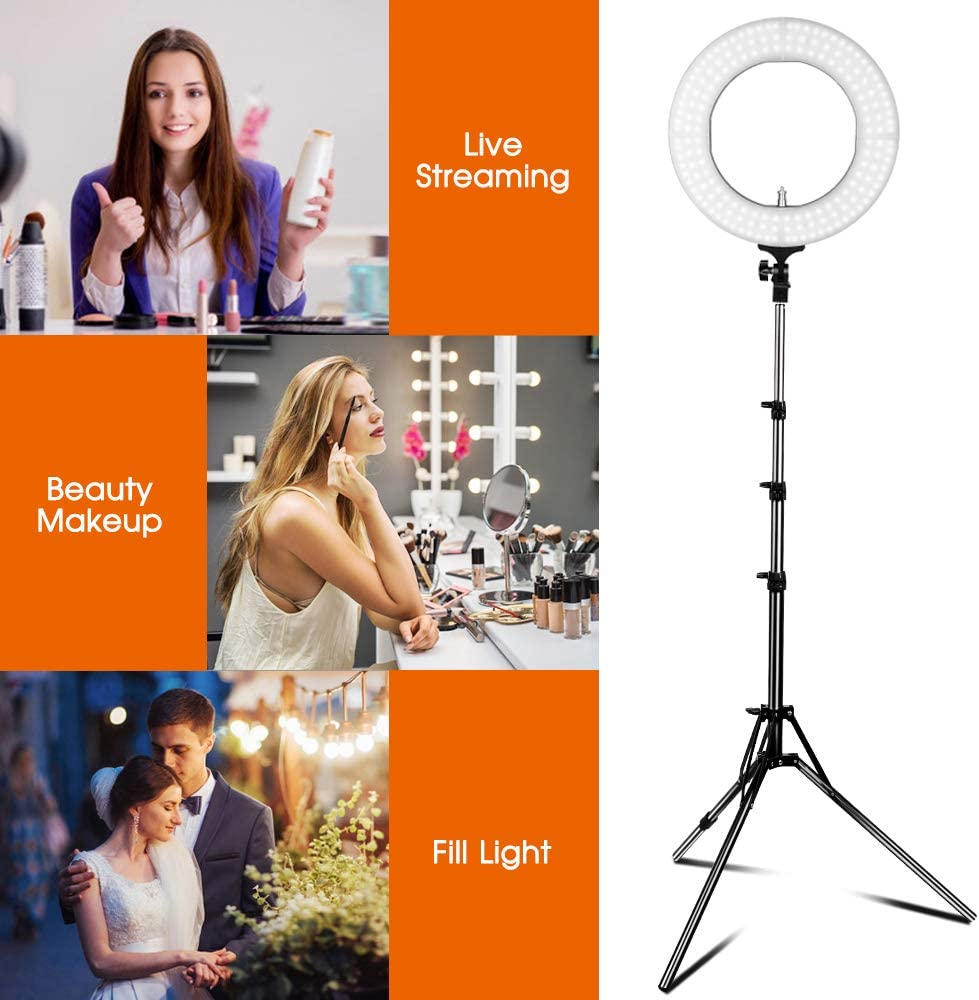 HUAXING 18 inch Led Ring Light Kit 55W 5500K Dimmable 480 LED Ring Lighting Kit with 2M Light Stand Work with Smartphone and SLR Camera for Video Shooting