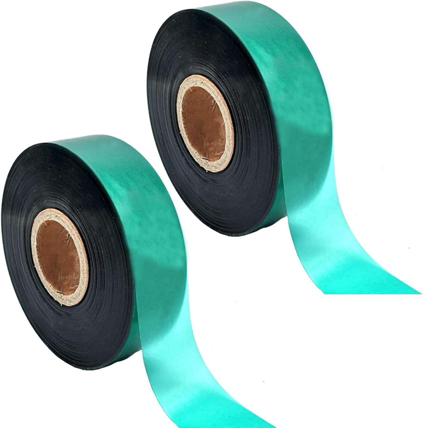 Medoore 2 Rolls Stretch Tie Tape Garden Tie Tape Thick Plant Ribbon Garden Green Vinyl Stake for Indoor Outdoor Patio Plant Use, 1 Inch Wide by 150 Feet Long