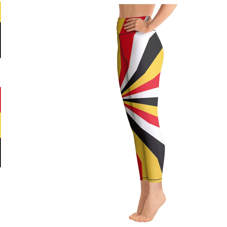 MIENTITE Printed high Waisted Leggings for Women Capris Yoga Pants MD Flag Maryland Wallpaper Jogging Leggins