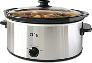 Zing 6 Quart Oval Slow Cooker, Manual with Keep Warm Heat Setting, Stainless Steel, Enough to Serve 5+ People