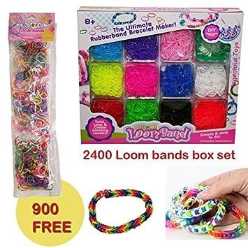 4397afff7a13 3300 De colores Arcoiris Gomitas Para Hacer Pulseras De Goma Kit set ...