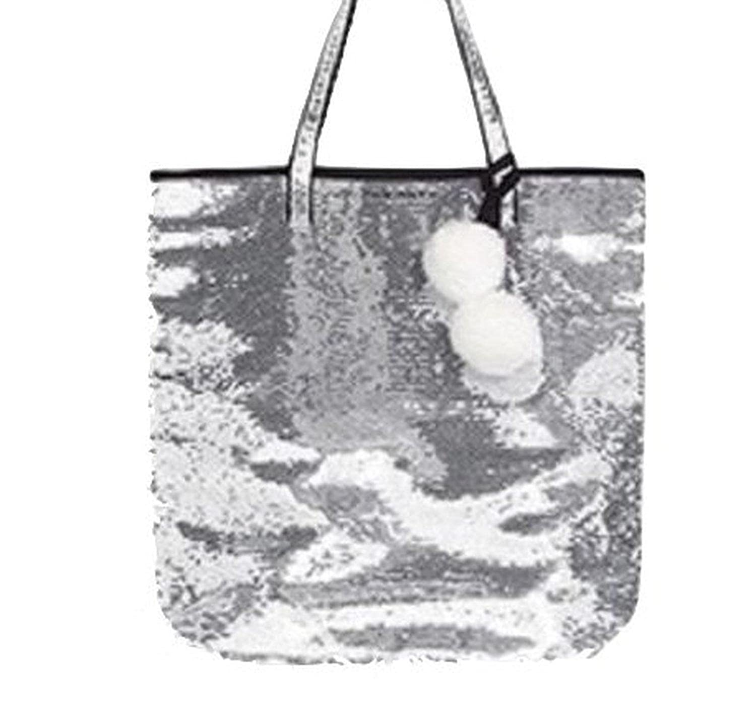 Victoria's Secret Sequin Tote Bag Silver