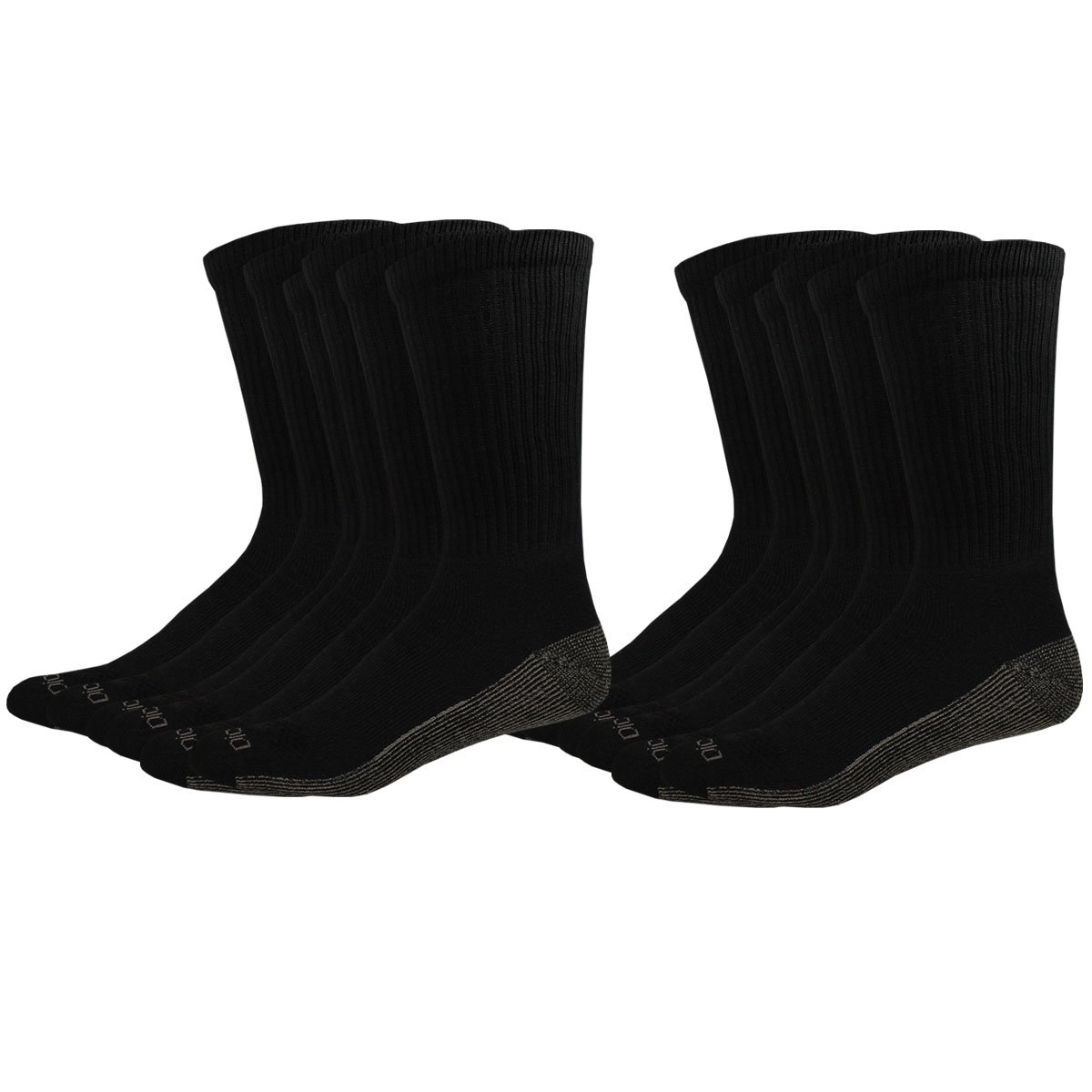 Dickies Men's Multi-Pack Dri-Tech Moisture Control Crew, Black 12 Pack, Sock Size: 10-13/Shoe Size: 6-12