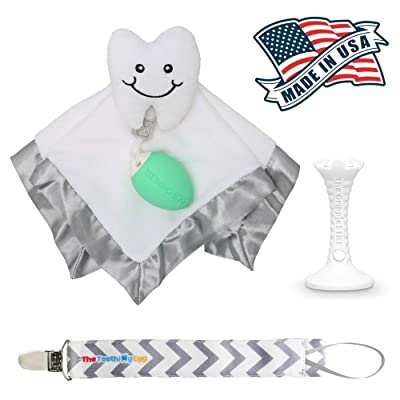 The Teething Egg - Official Product, Made in The USA – 3 Product Bundle with Mint Egg – Includes The Grippie Stick and Nummie Lovey Security Blanket: Toys & Games