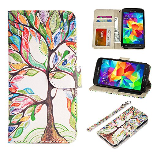 S5 Case, UrSpeedtekLive Galaxy S5 Wallet Case, Premium PU Leather Wristlet Flip Case Cover with Card Slots & Stand Compatible Samsung Galaxy S5, Love - For S5 Galaxy Cases Dollar
