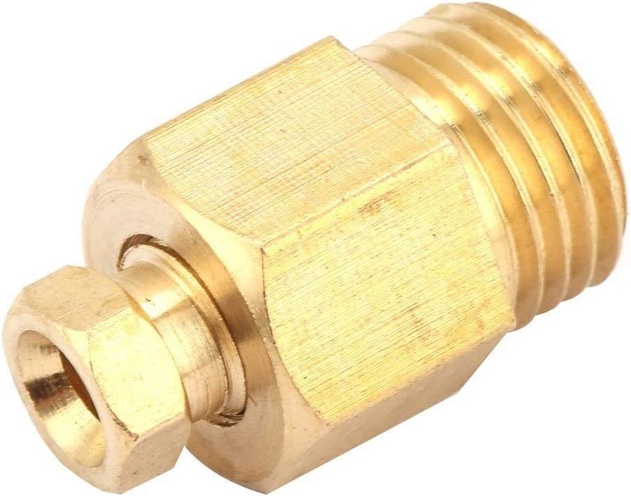 Beennex 2Pcs Compression Ferrule Tube PD Card Straight Through Brass Oil Pipe Fitting Adapter PD414