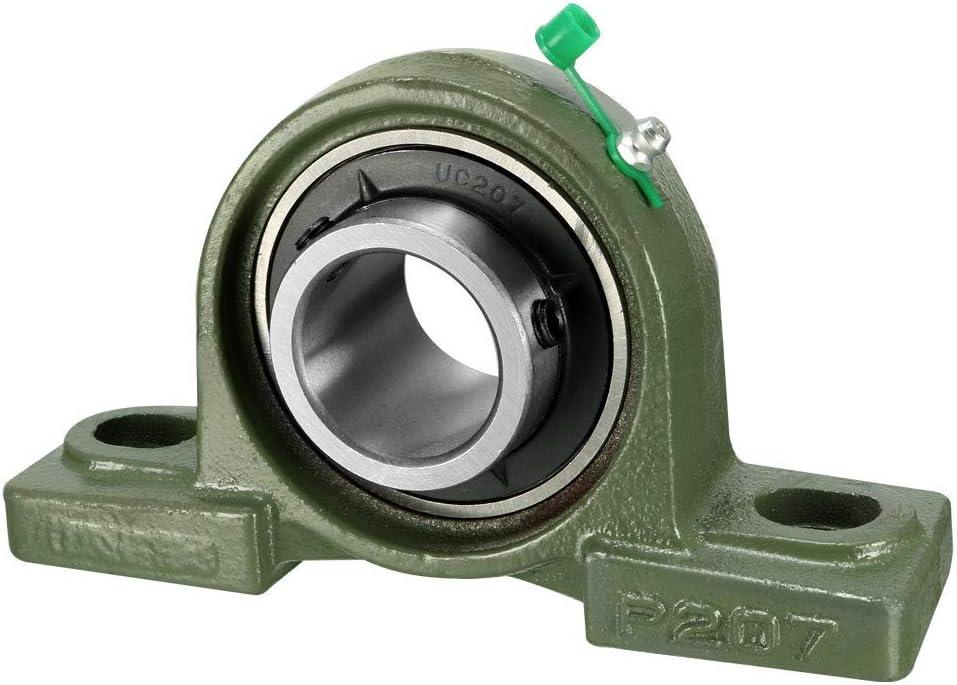 YeVhear UCP207 - Cojinete de cojinete, diámetro de orificio de 35 mm, hierro fundido y acero cromado