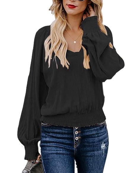 Amazon.com: Umeko Blusa suelta de lino con cuello en V para ...