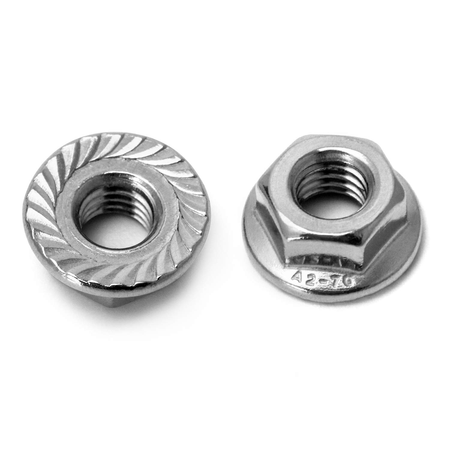 304 Stainless Steel 18-8 Bright Finish Pack of 50 QWORK M6 Serrated Flange Nut Hex Lock Nuts