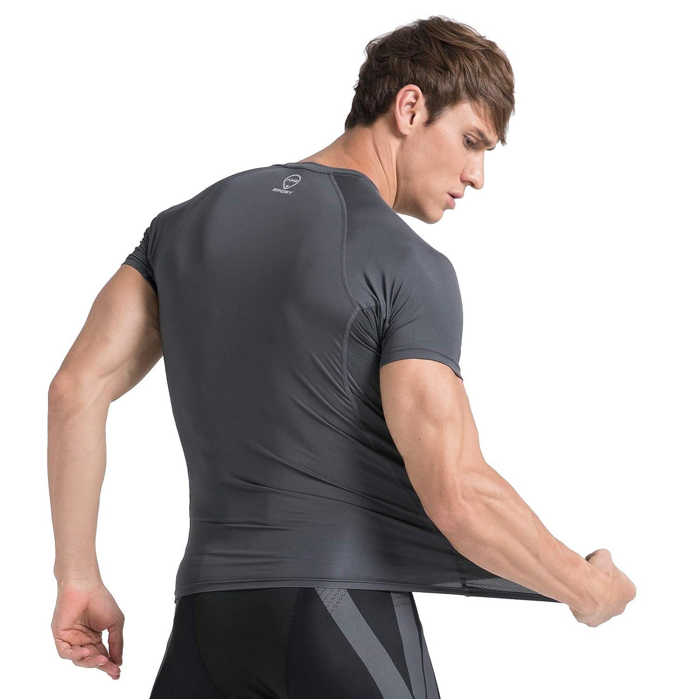 AMZSPORT Mens Sports Compression Shirt Mesh Design Short Sleeve T-shirt Top for Running Training Gym