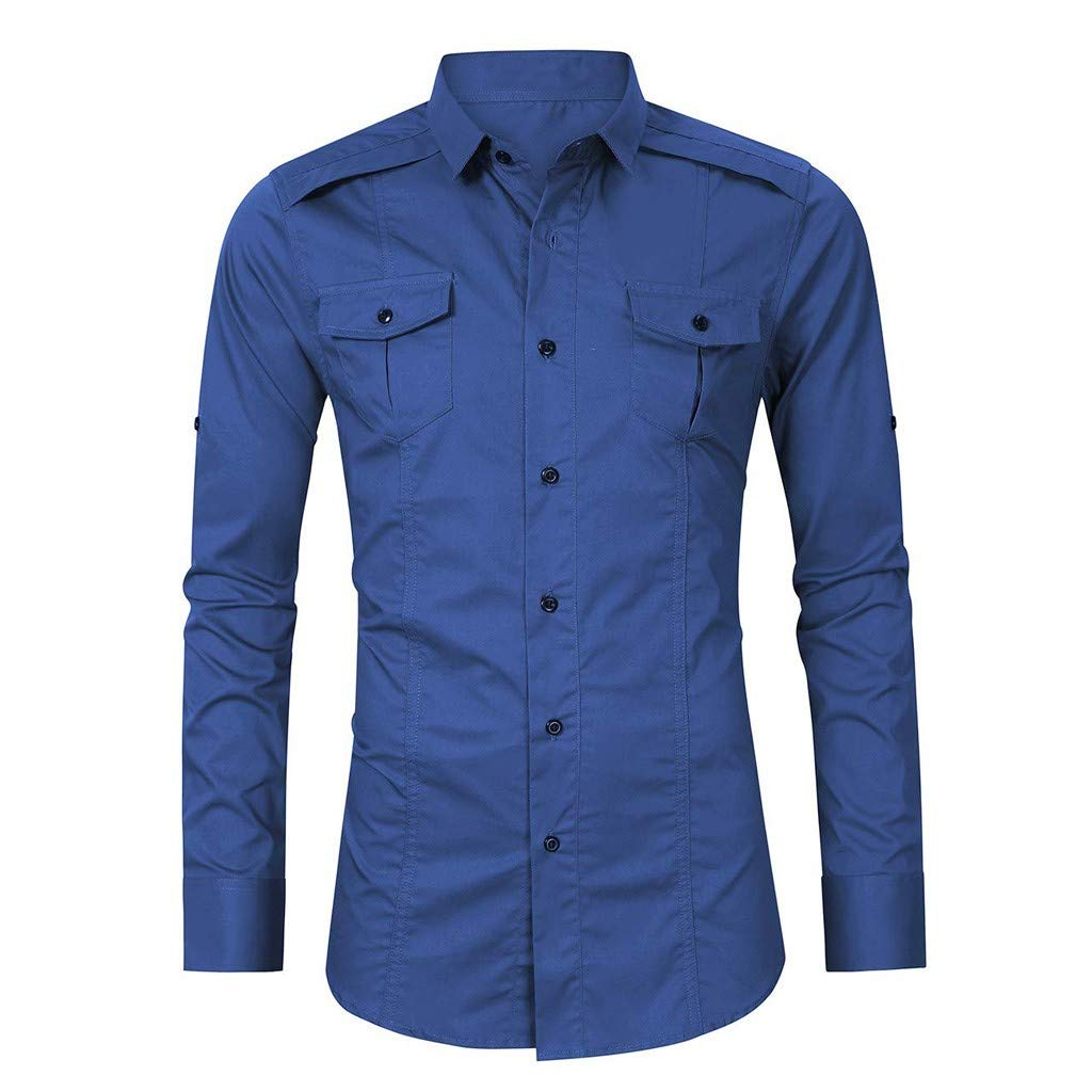 Infidev Mens Outdoor Hiking Solid Button Down Long Sleeve Casual T-Shirts Blouses with Pockets