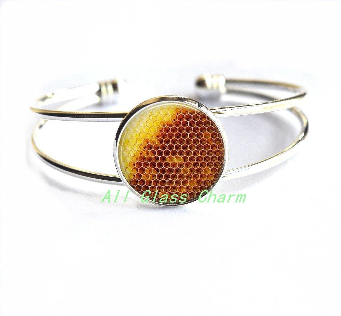 Save the Bees,AS056 Honeycomb Bracelets Honey Bracelet Naturist Charming Bracelet,Honeycomb Jewelry Honey Bee Beehive Honeycomb Bracelet Insect Jewelry
