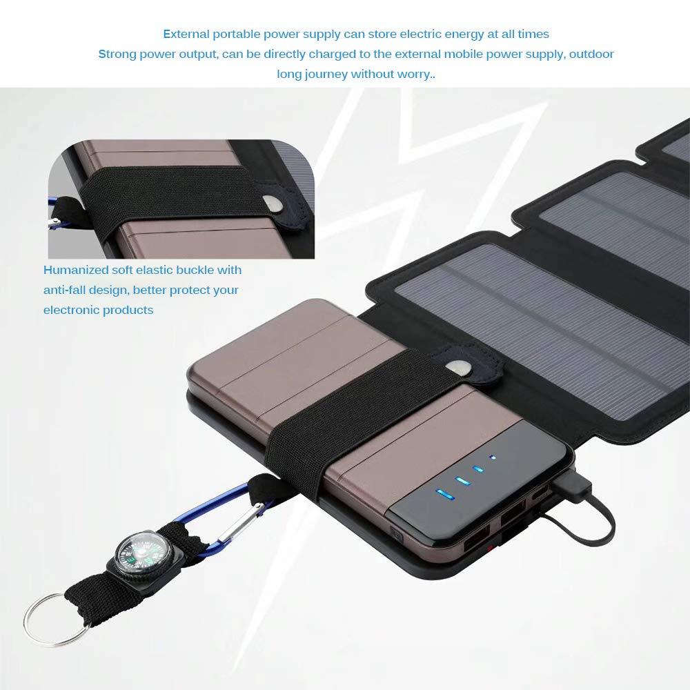 9 W ALLOMN Cargador Solar Plegable 5 V 2,1 A tabletas Chip de silicio monocristalino Cargador de c/élulas solares Cargador de bater/ía Solar Powerbank etc. Smartphones Puertos USB